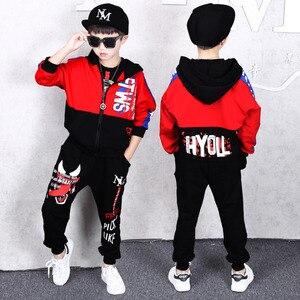 Image 2 - Frühling Kinder Jungen Kleidung Set Frühling Herbst Kinder Kleidung Set 4 6 8 10 12 13 14 Jahre Jungen Sport anzug Mode Kinder Kleidung