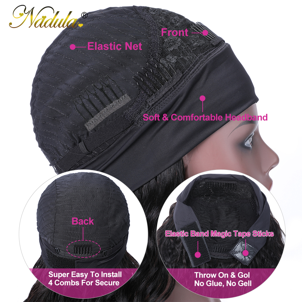 Nadula Highlight Straight Hair with Dark Roots Headband Wig  Honey Blonde Color Straight Hair Headband Wigs for Women 6