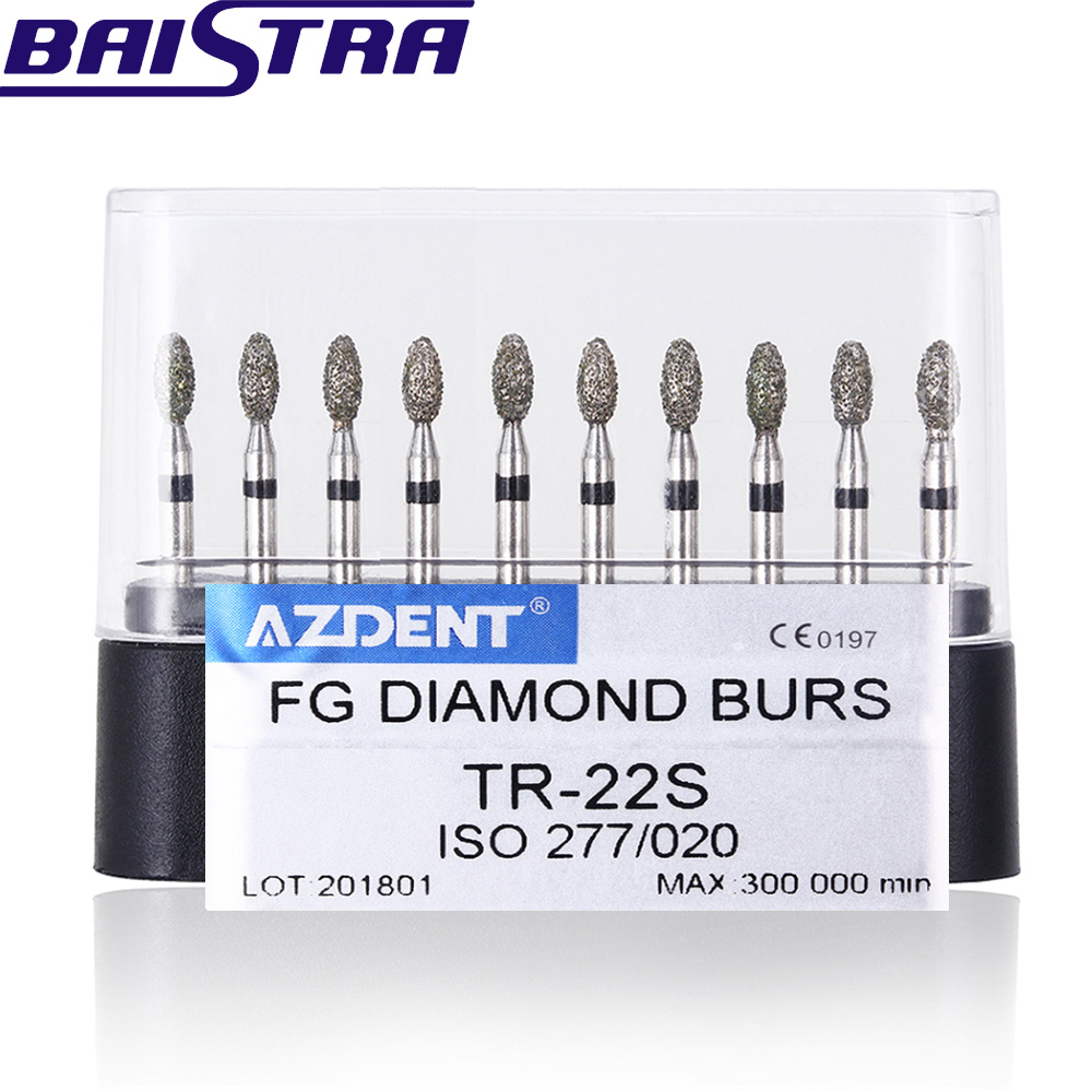 TR-22S 10 Pcs/set Dental High Speed Diamond Burs  Dentist Super Coarse Diamond Dental Lab Tools