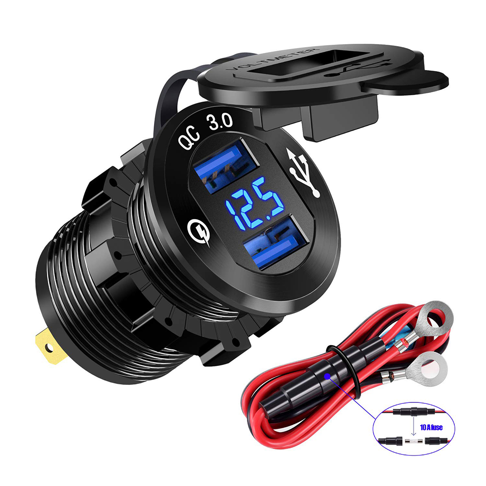 Quick Charge 3.0 Dual USB Charger Socket Waterproof Power Outlet Fast Charge With LED Voltmeter For 12V/24V Car Boat Marine ATV