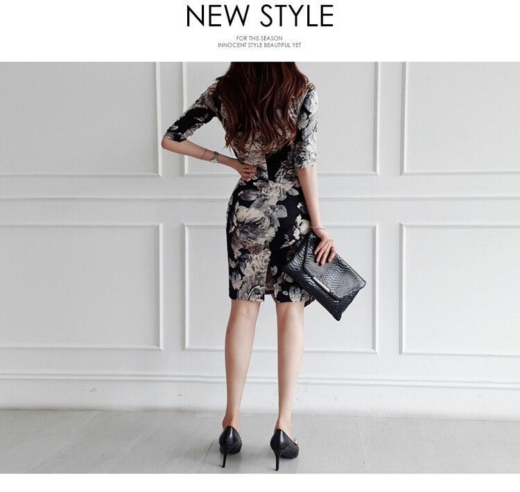 Floral Print Half Sleeve Sheath Knee-length Dress 7