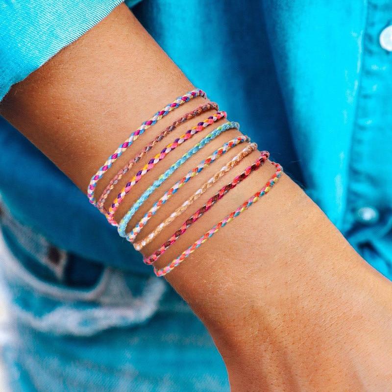 Handmade National style Color Cotton Rope Bracelet Tibetan Buddhist Lucky Charm Tibetan Thread Bracelets & Bangles For Women Men