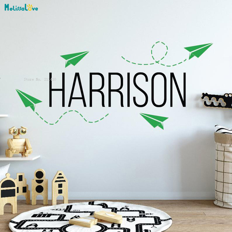 Paper Airplane Custom Name Wall Sticker Home Decoration for Kids Boys Room Personalized Aviation Décor Vinyl Murals TY2499 image