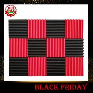 Foam-Sound Tiles Acoustic-Panels Soundproofing-Foam Studio Black 12pcs Wedges Red 1inch-X-12inch-X-12inch