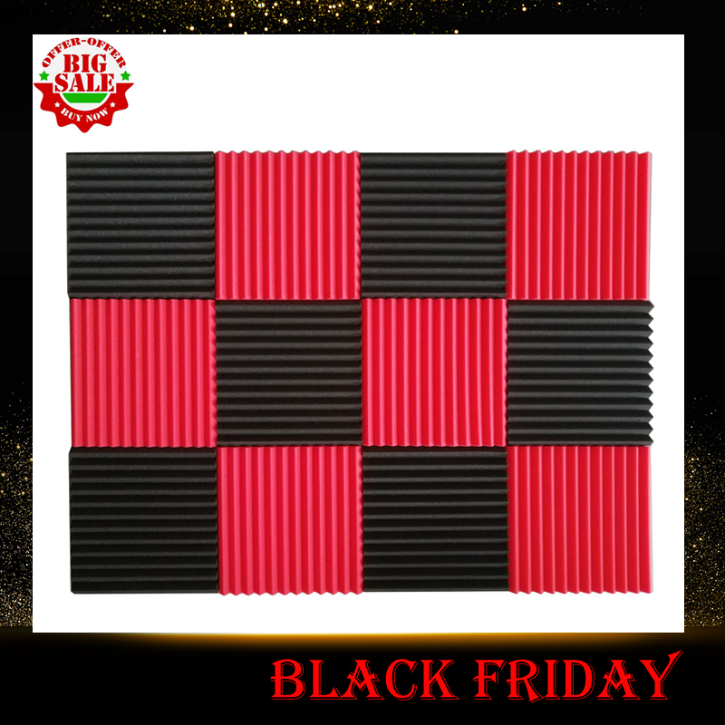 12 Pcs Acoustic Panels Soundproofing Foam Acoustic Tiles Studio Foam Sound Wedges 1inch X 12 inch X 12 inch black + red