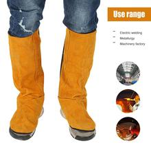 Leather Flame Retardant Welding Spats Safety Boot Flame Heat Abrasion Flame Resistant Foot Safety Protection Work Welder Tools
