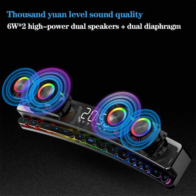 3600mAh Bluetooth Wireless Game Speaker soundbar USB 3D Stereo Subwoofer AUX FM Home Clock Indoor Sound