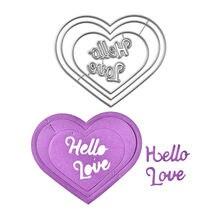 YaMinSanNiO Hello Love Word Dies Heart Metal Cutting New 2019 for Card Making Scrapbooking Album Embossing Stencil Crafts