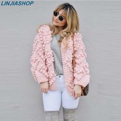 Super chic jumper roze vest lange mouw herfst winter uitloper casual speciale 3D bloem kasjmier vrouwen wit truien