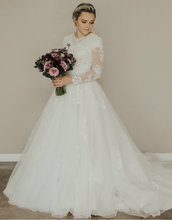 הגעה חדשה אונליין צנוע חתונת שמלות עם ארוך אשליה שרוולים גבוה צוואר תחרה טול כפתורים חזרה LDS כלה שמלות צנועות