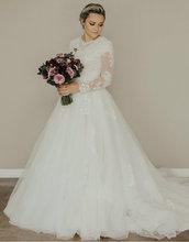 New ARRIVAL A Line เจียมเนื้อเจียมตัวงานแต่งงานชุดยาวภาพลวงตาแขนคอลูกไม้ Tulle ปุ่มกลับ LDS ชุดเจ้าสาวเจียมเนื้อเจียมตัว