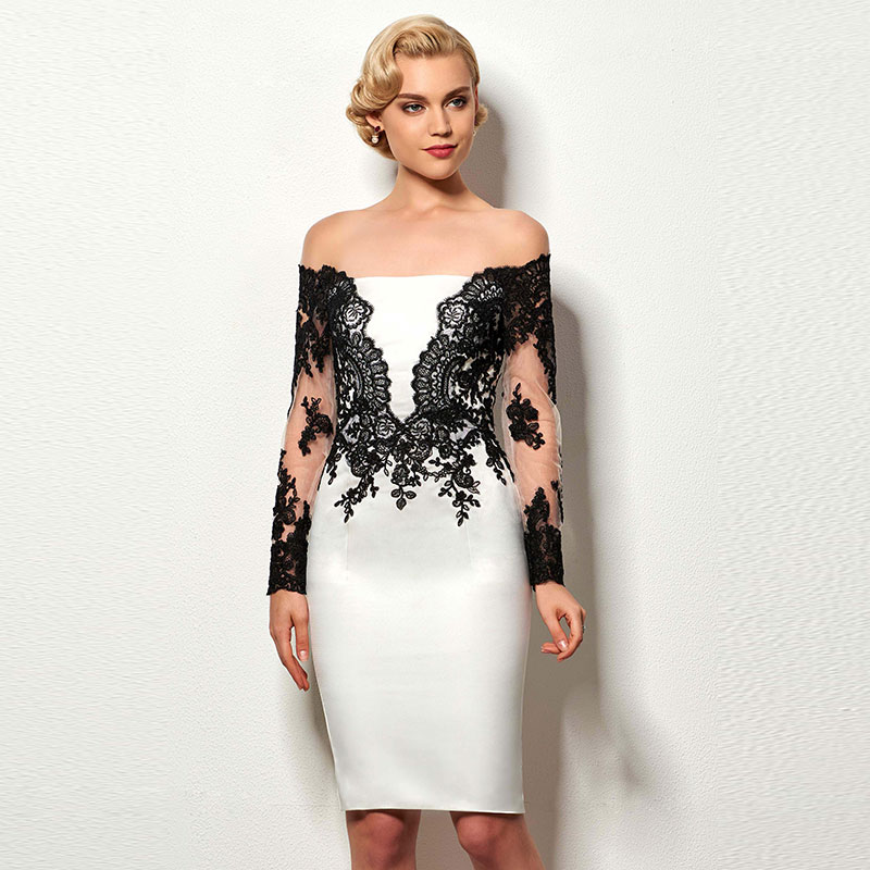 Tanpell Sheath Cocktail Dress Scoop Neck Long Sleeves Applqieus Button Woman Party Gown Knee-length White Cocktail Dress