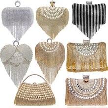 GLOIG Fashion women tassel evening bags diamonds beaded clutch wedding purse shoulder party laides case purse