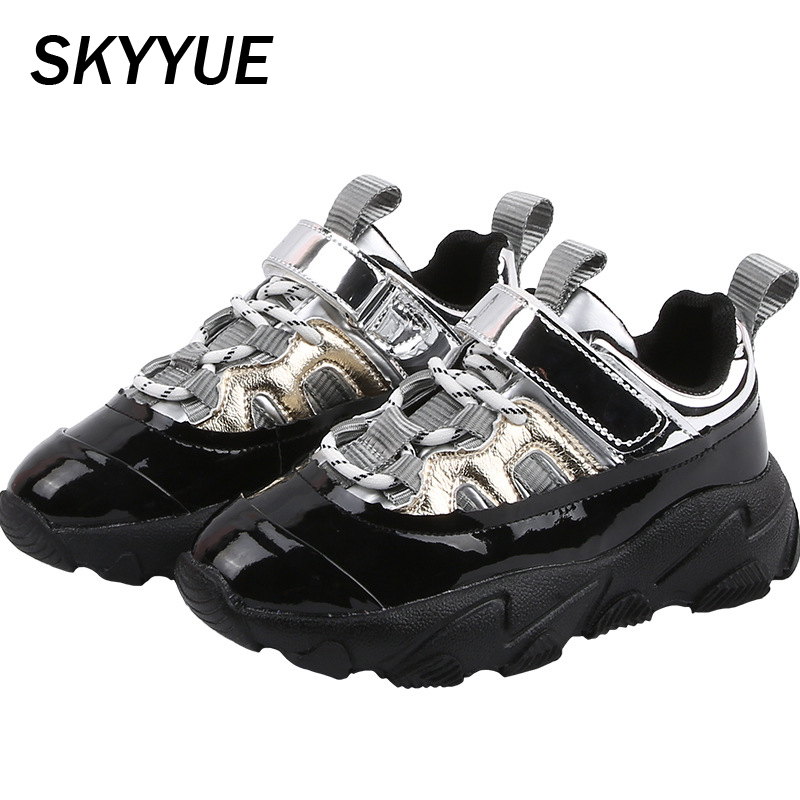 Kids Sport Sneakers Boys Black Running Shoes Children Mesh Chunky Sneakers Baby Girls Brand Casual Sneakers Trainers Spring 2020