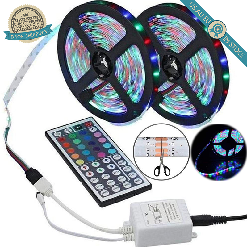 3/5/10M 12V+ RC LED Lights Lamps Strip SMD 5050 2835 Flexible Ribbon Fita RGB DC Tape Diode Lighting Party Hanging Decor Adapter