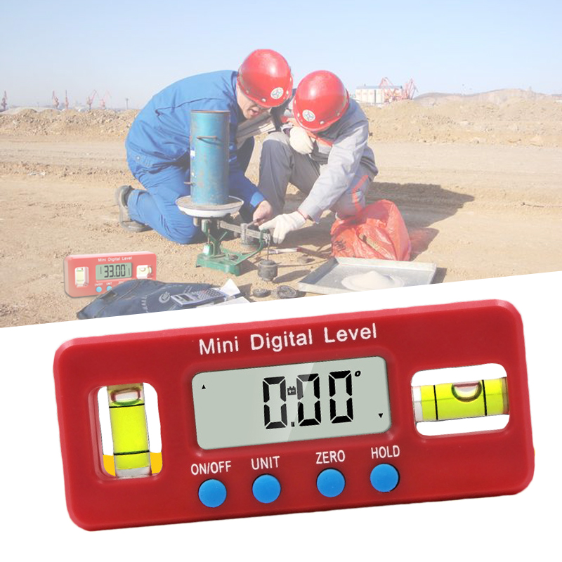 DIDIHOU Red Precision Digital Protractor Inclinometer Water Proof Level Box Digital Angle Finder Bevel With Magnetic Base