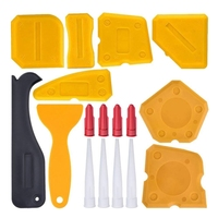 17 Pieces Caulking Tool Kit Silicone Sealant Finishing Tool Grout Scraper Caulk Remover And Caulk Nozzle And Caulk Caps(Yellow) Caulk     -