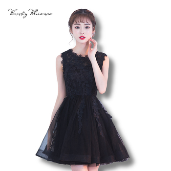 Short Prom Dresses 2020 Lace Up Prom Gown Formal Dress Women Black Occasion Party Dresses Robe De Soiree