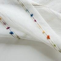 Cortinas para sala de estar y dormitorio, cortinas transparentes con patrón de rayas de lino falso, bordadas, de gasa semitransparente de colores del Arcoíris
