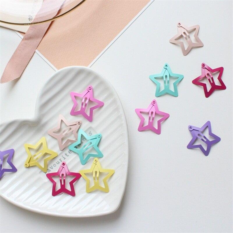 6 Pcs/set star butterfly shape hair snap clips 2.5 cm glitter pentagram metal cute bling hairpins