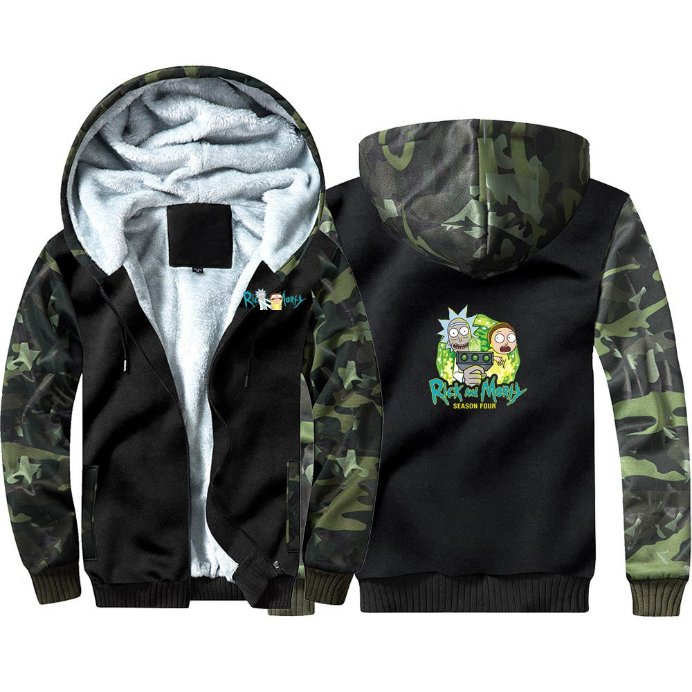 New Anime Rick And Morty Camouflage Hoodie Sweatshirts Winter Thicken Hooded Coat Cosplay Costume Warm Men Women Clothing