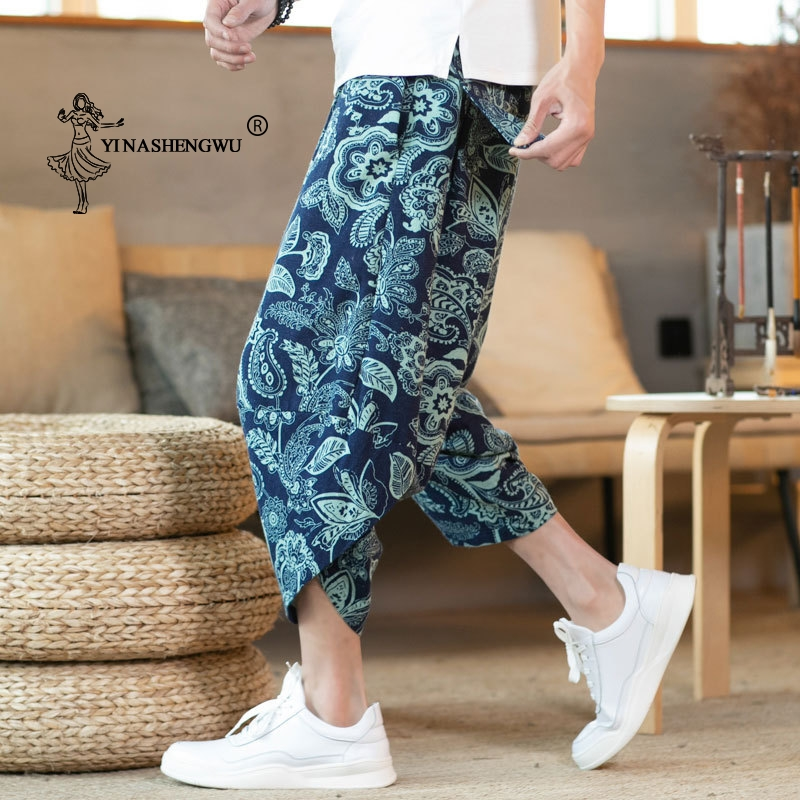 Unisex Japanese Kimono Haori Pants Men Kimono Asian  Yukata Ukiyo Wave Print Casual Elastic Cartoon Leisure Loose Harem Trousers