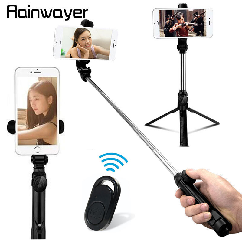 3 In 1 Wireless Monopod Extendable Foldable Handheld Bluetooth Selfie Stick Mini Tripod For IOS Android  With Shutter Remote