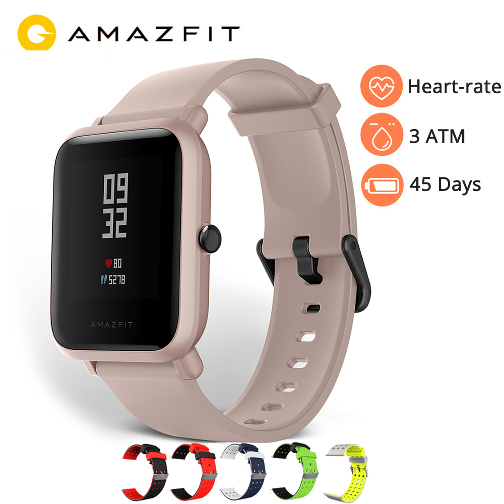 Inglês versão amazfit bip lite relógio inteligente huami amazfit bip lite relógio masculino 45 dias de vida da bateria 3atm monitor de freqüência cardíaca relógio