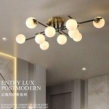 Lámpara de techo moderna de cobre para sala de estar, accesorio de iluminación de rama de bola de vidrio Vintage, lustres creativos, lámpara para iluminación