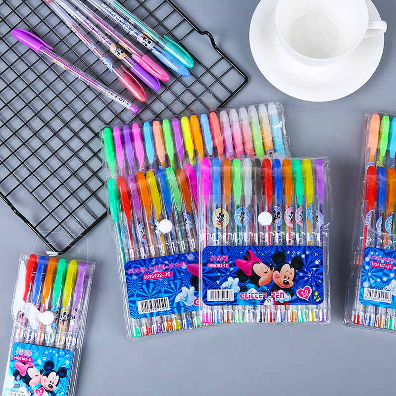 12/18/24/36/48 color Disney Mickey Minnie color gel pen set color highlighter office signature pen student writing painting gift