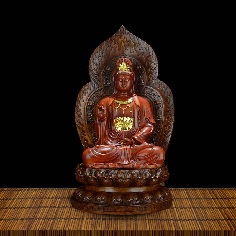 Ouro xiangyuan ksitigarbha avalokiteshvara bodhisattva resina artesanato ornamento casa sala de estar pequeno buda estátua