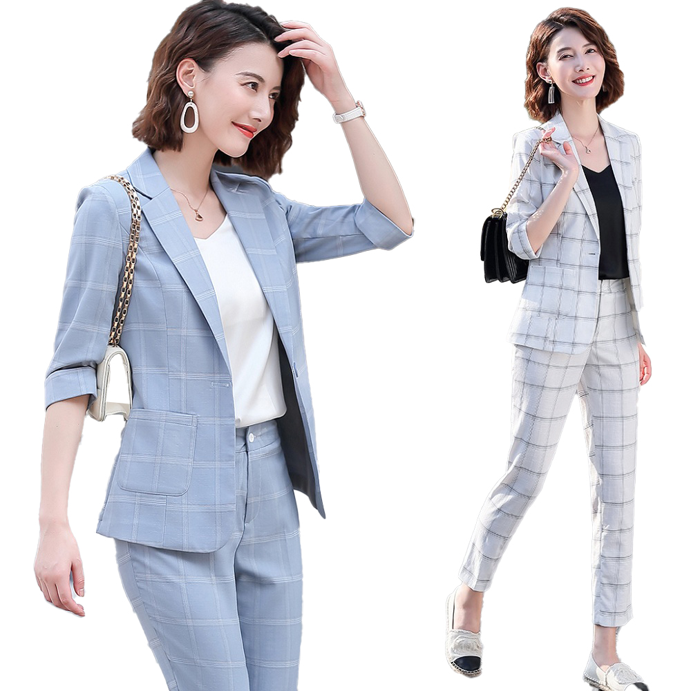 Fashion Casual Blazer For Women Formal Pant Suits Work Wear Half Seeve Jacket Sets Ladies Business Suits Set 2 Pieces Pantsuit