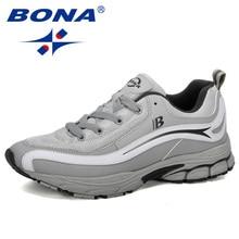 بونا جديد مصمم الاتجاه احذية الجري الرجال رياضية عالية الجودة في الهواء الطلق الدانتيل متابعة أحذية للمشي Zapatillas Hombre مريحة