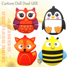 Kartun USB Flash Drive Minion Pen Drive 128 GB/64 GB/32 GB/16G CLE USB tongkat Memoria USB Kunci Flashdisk Animado Fox/Bee/Penguin/Burung Hantu(China)
