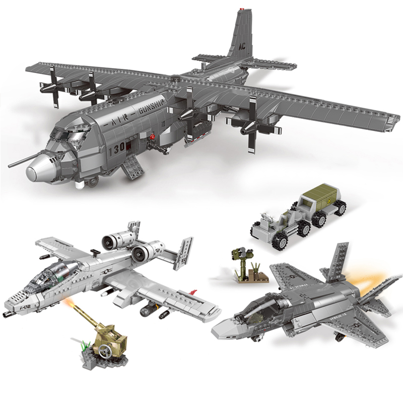 Building Blocks WW2 Military Series Airplane F-35 AC130 A10 Fighter Model With Weapon Soldiers Figures Block Bricks Toys Gift image