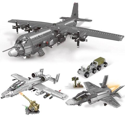 blocos de construcao caber legoinglys ww2 serie militar conjuntos aviao f 35 ac130 a10 lutador