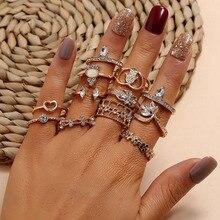 1,78€ Juego de anillos de oro, conjunto de anillos de cristal geométricos