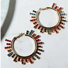 New Arrival Women Fashion Shiny Rhinestone Sunshine Charms Hoop Earrings Jewelry Hot Sale Trendy Statement Earrings Accessories(China)