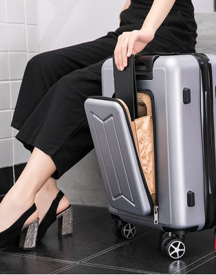 24 inch small men and women business front multiple opening computer password boarding leather suitcase travel trolley case