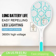 Bug Zapper Racket Mosquito Swatter Insects Fly Killer Electric Battery-Power Summer Home