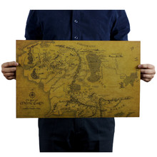 Vintage Middle Earth Map On The Lord of The Rings Poster Decor hand-drawn drawing Wall Sticker 51x35.5cm Retro Kraft Paper(China)