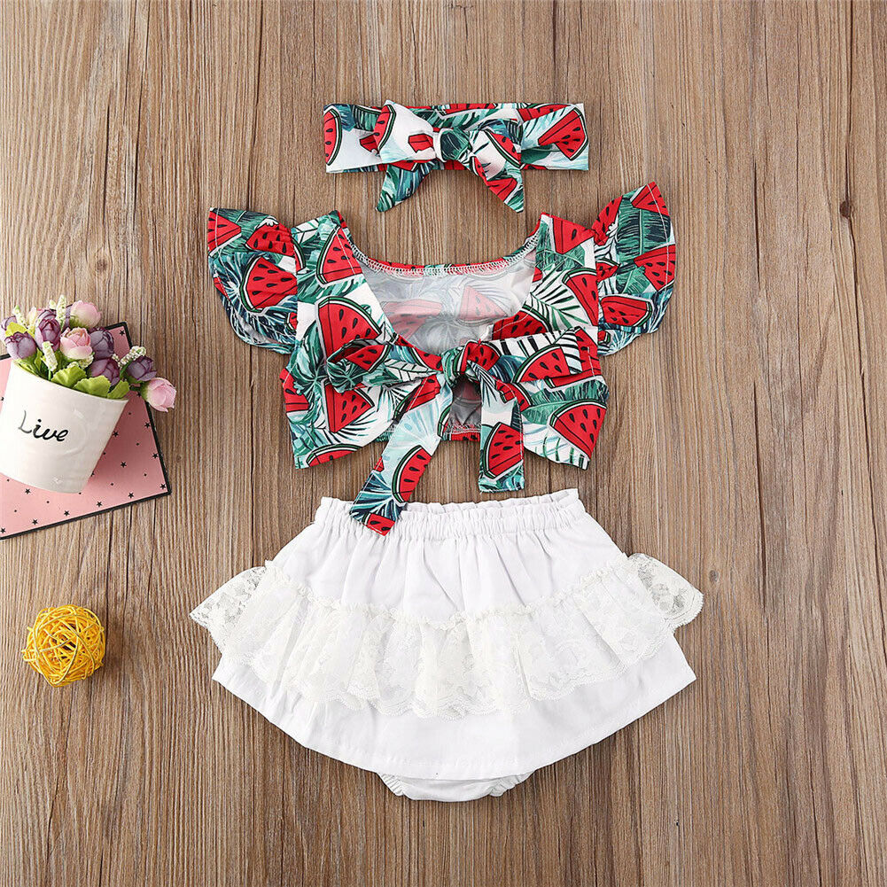 Newborn Kids Baby Girls  Summer Ruffle Tops Shorts Pants 2Pcs Outfits Clothes