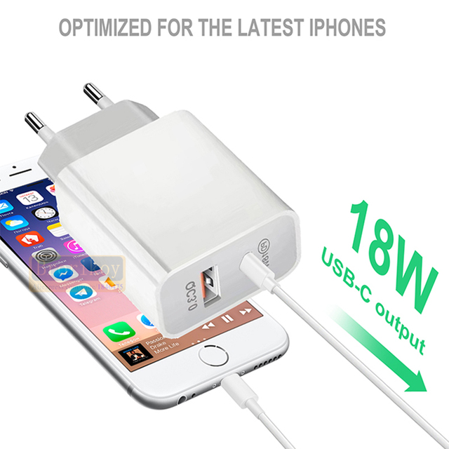 18W PD Fast Charging QC3.0 Quick Charger USB Adapter EU UK US Plug for iPhone 12 11 Pro Max Huawei Samsung USB-C Type-C Cable 5