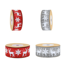 5/10Meter Printed Snowflake Organza Satin Grosgrain Christmas Gifs Box Wrapping Supplies Ribbons DIY Sewing Bow Craft Decoration