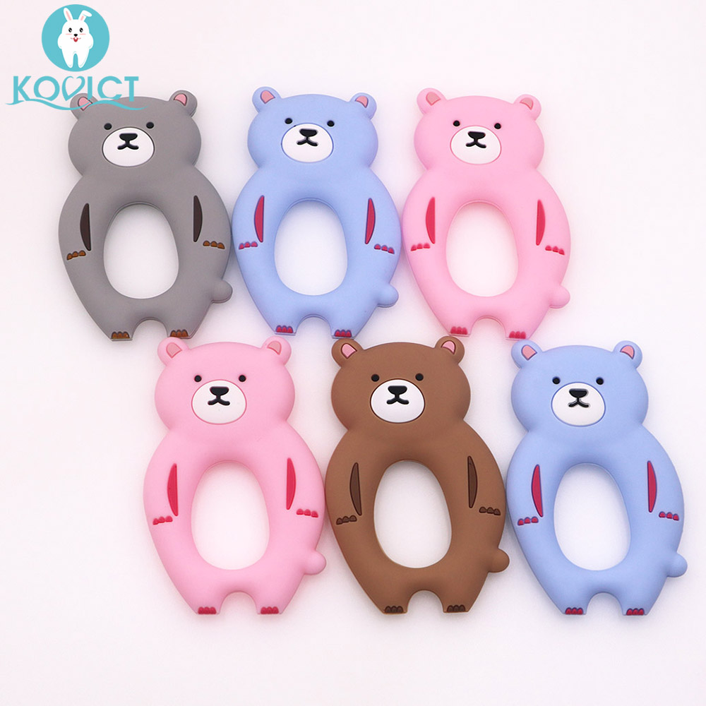 Kovict BPA Free 1PC Bear Silicone Baby Teether Rodent Baby Teething Toys Chewable Animal Shape Baby Products Nursing Gift