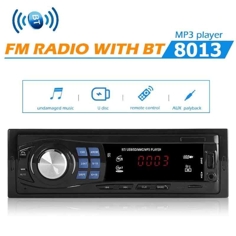 カーオーディオ 1Din カーラジオの Bluetooth オートステレオ MP3 プレーヤーリモコン DC 12V FM USB AUX 入力機能自動車インダッシュ
