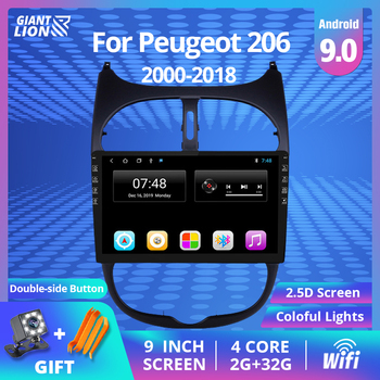 2din Android 9.0 Car Radio For Peugeot 206 2000-2016 Car Multimedia Player GPS Navigation WIFI IPS Screen Player Autoradio Dvd image