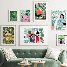 Arte da lona abstrata yoga menina fruta animal da floresta pintura cartazes e cópias de nordic fotos de parede para liv