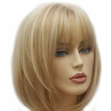 Hairjoy女性ショートストレート合成かつらブロンド茶色混合かつら送料無料4色をご用意