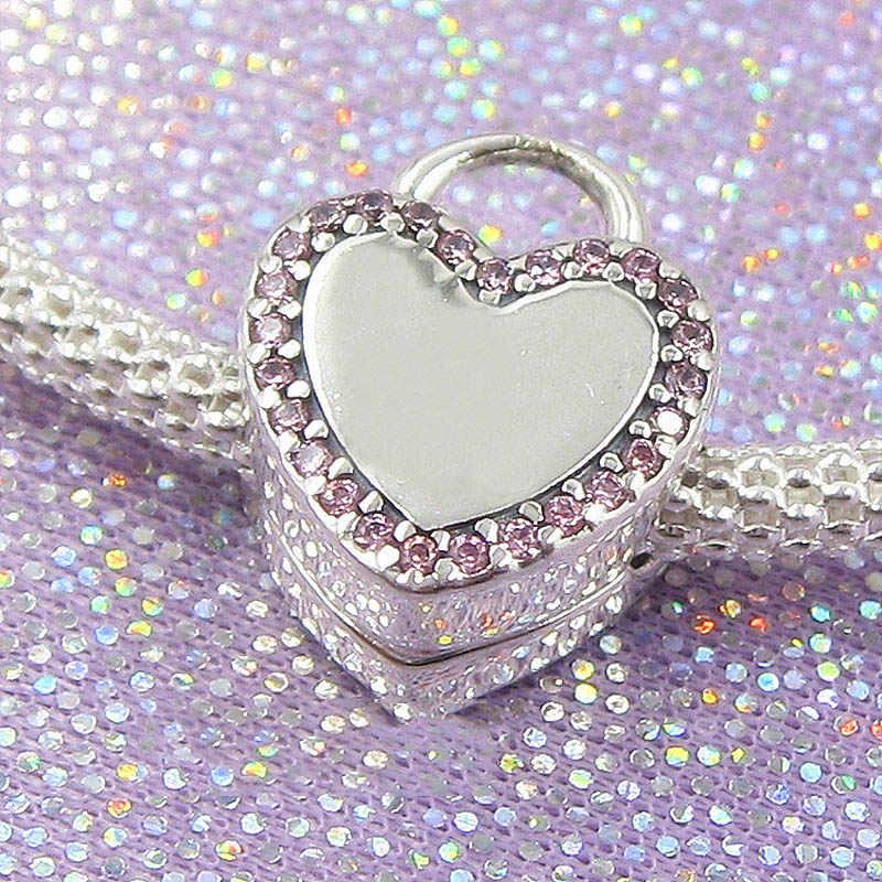 Nowy 925 srebrny koralik urok Logo insygnia blokada twoja obietnica klip blokada korka koraliki Fit bransoletka pandora DIY biżuteria